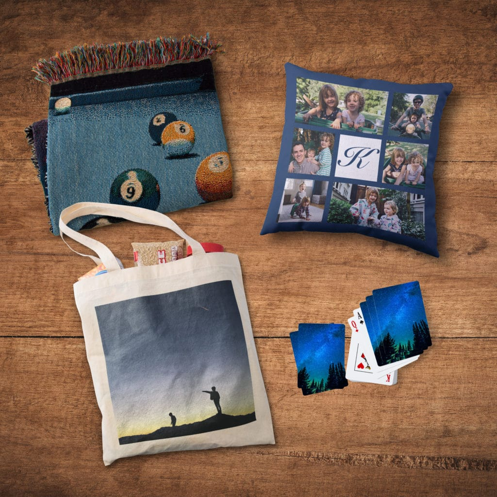 Pack personalized photo blankets, pillows + custom playing cards in a photo tote bag for fun camping adventures.