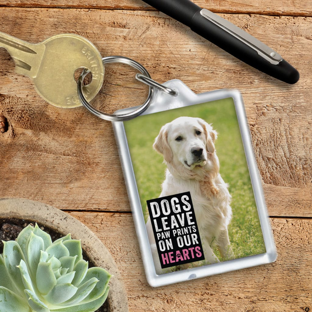 Photo of dog on key chain with embellishment quote