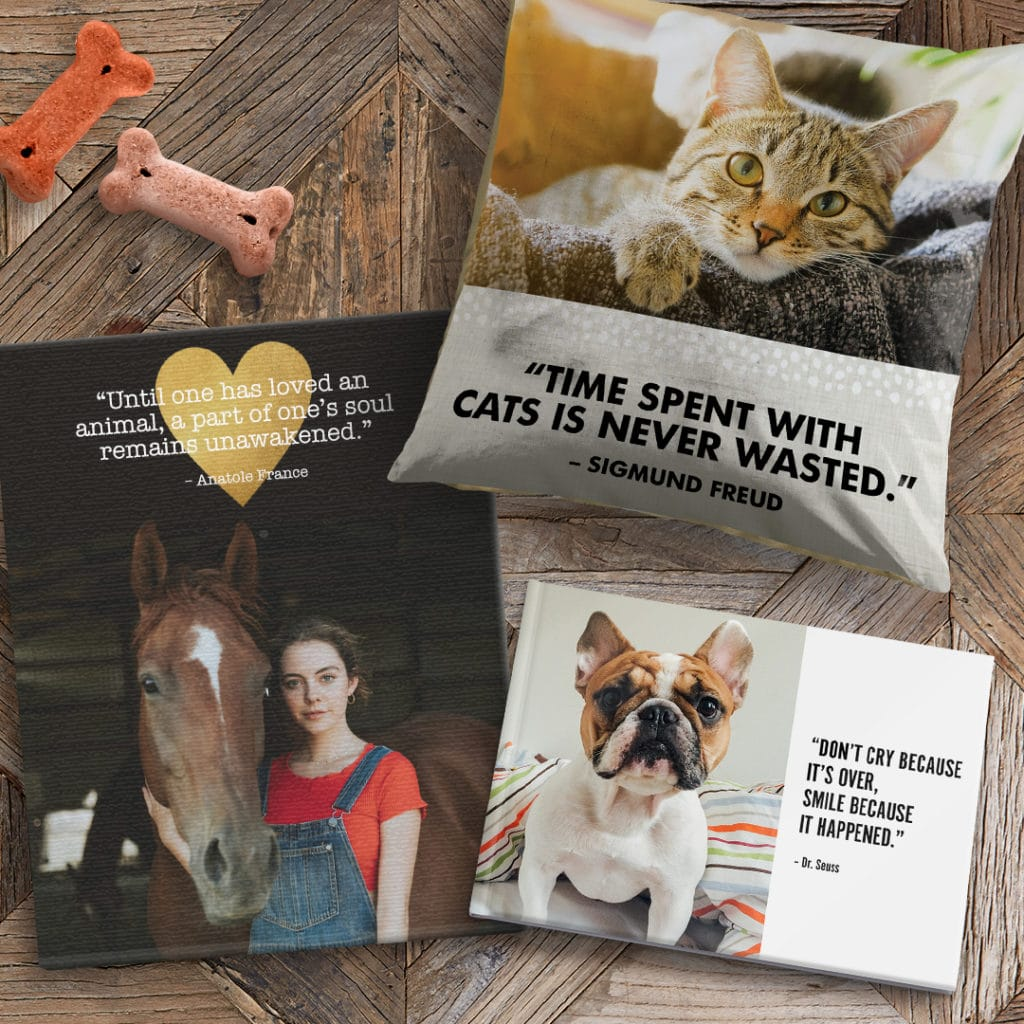 Photo gifts with images of pets and quotes