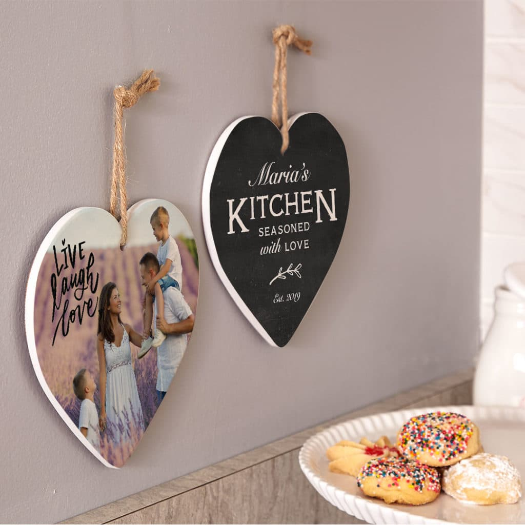 Personalize trivets for wall or table with photos using premade desgn layouts