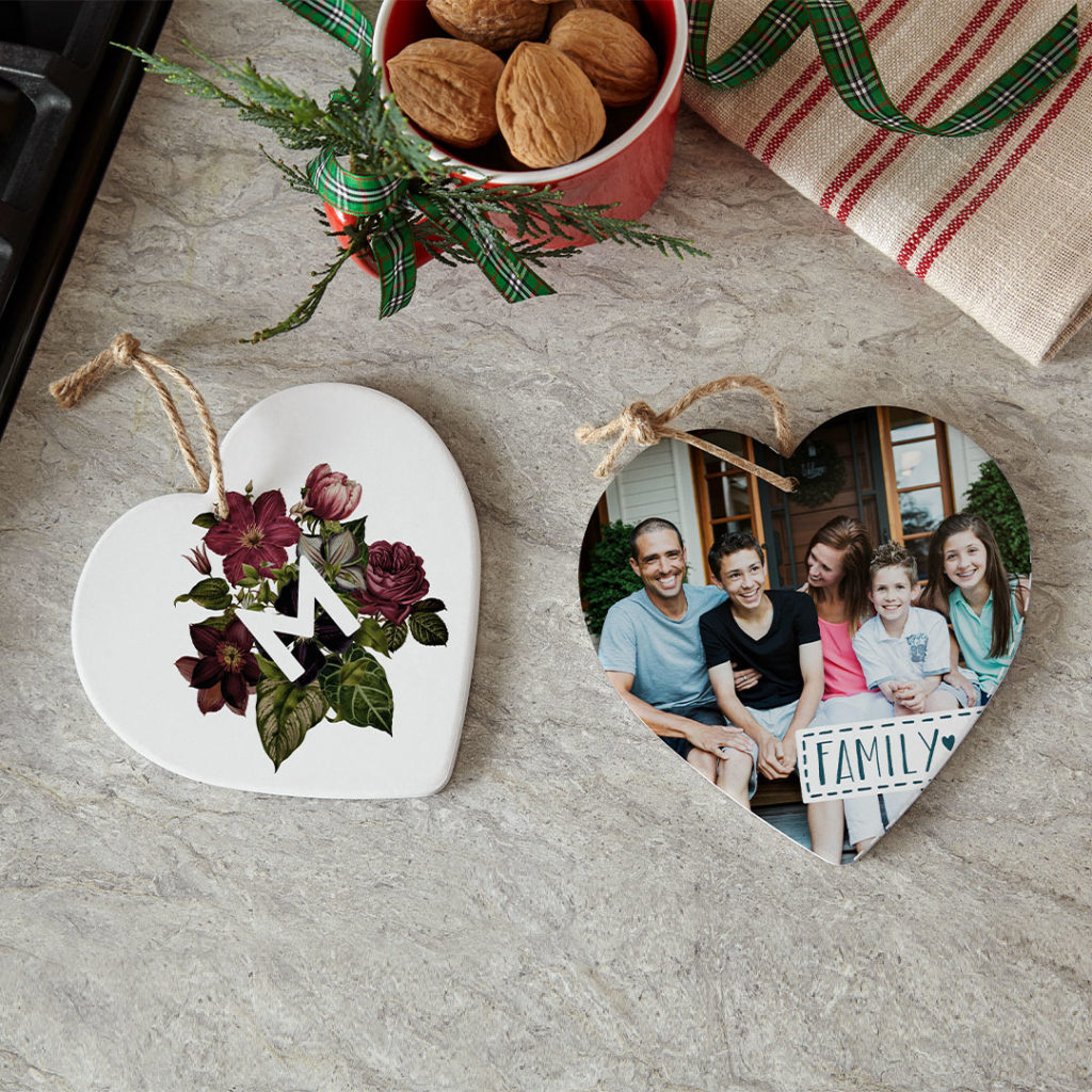 Custom heart-shaped trivets for fun wall decor. Do more with photos.