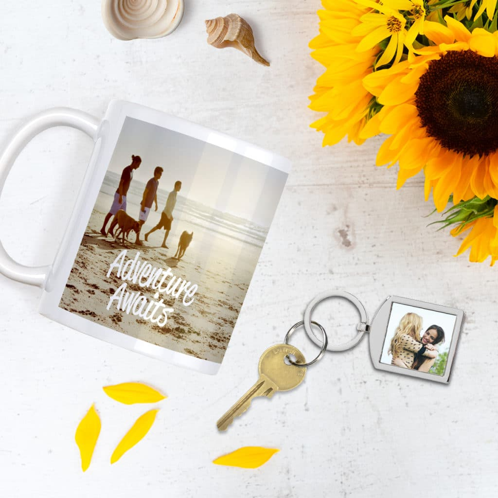 Share photo memories with friends and family on mugs and keychains