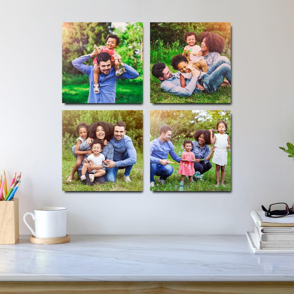 Photo Tiles are easy to swap out on your wall - without damaging your decor