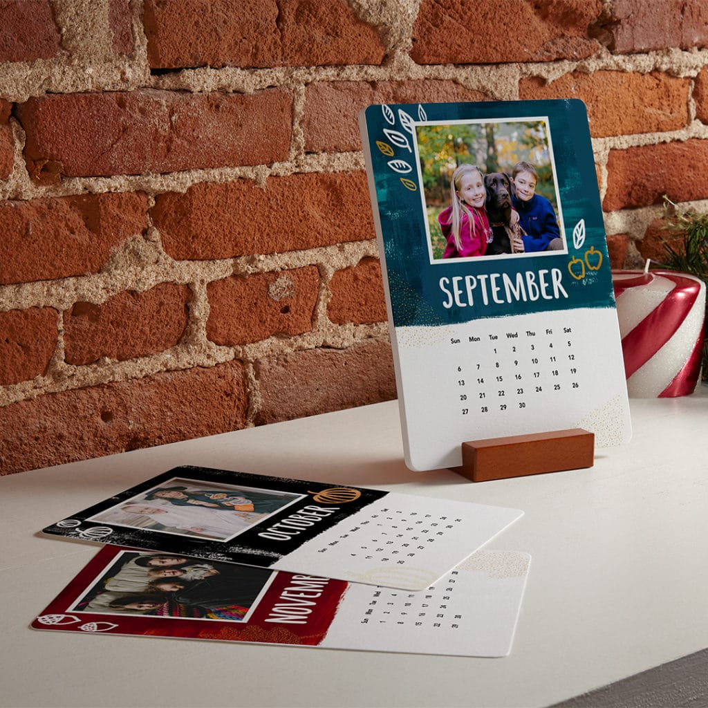 Wood block desk calendars with refillable cards. Just add photos!