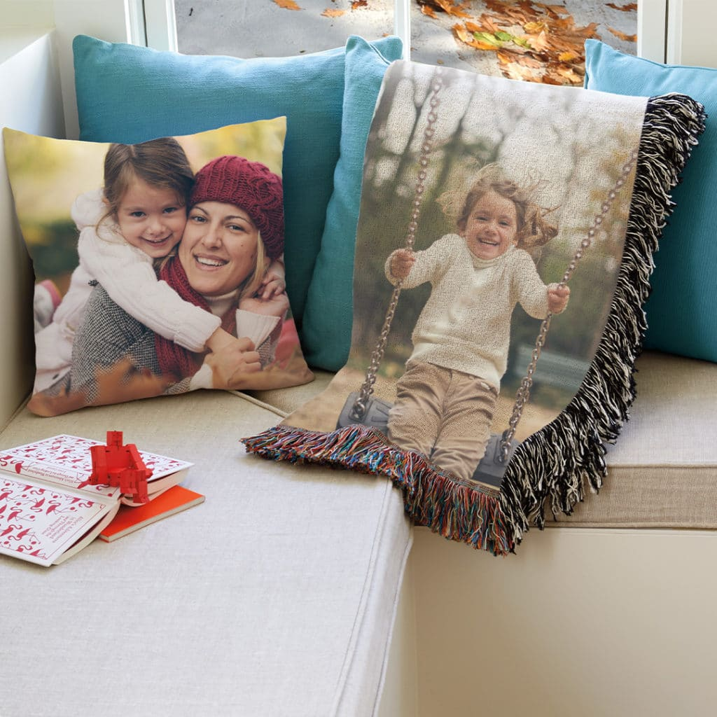 Woven photo blankets give a more traditional home decor vibe