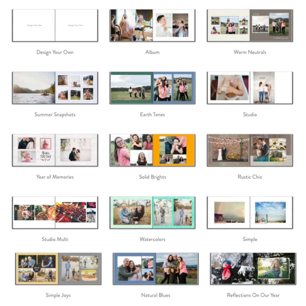 website display of different photo book designs