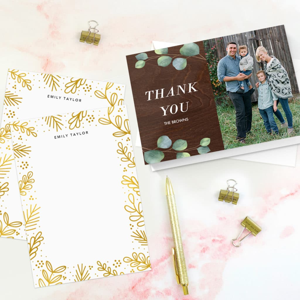 Say Thank You with personalized cards and stationery