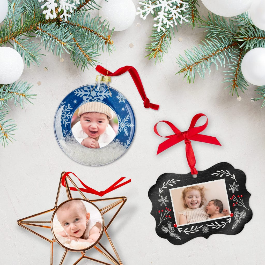 Start a new festive family tradition with photo Christmas tree ornaments