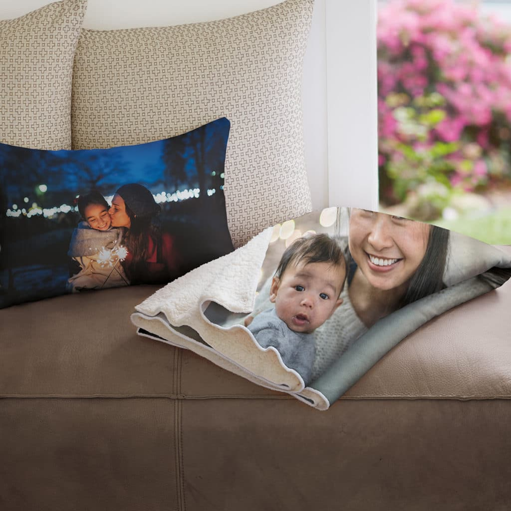 Coordinate your room with personalized photo blankets and cushions