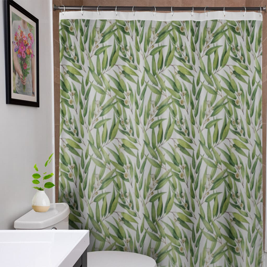 Shower curtain with eucalyptus pattern