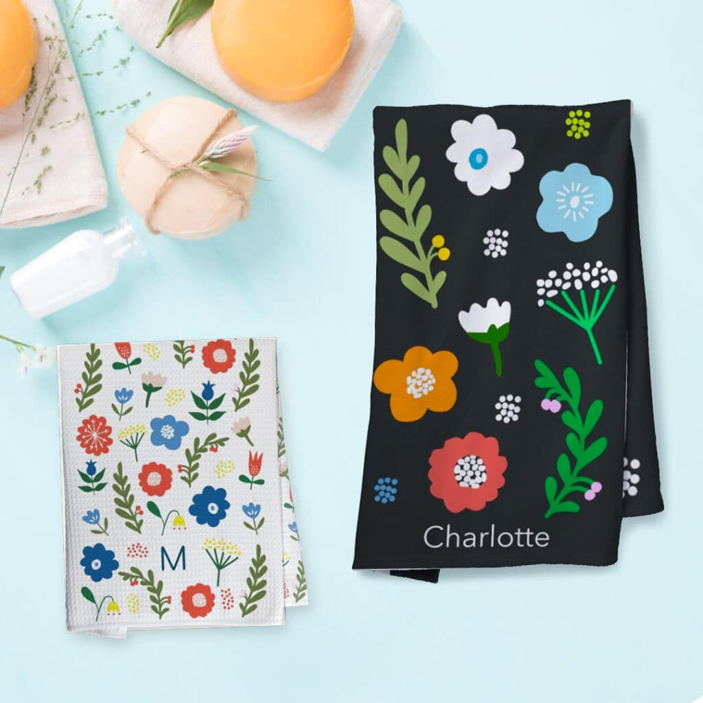 Floral tea towel and beach towel designs