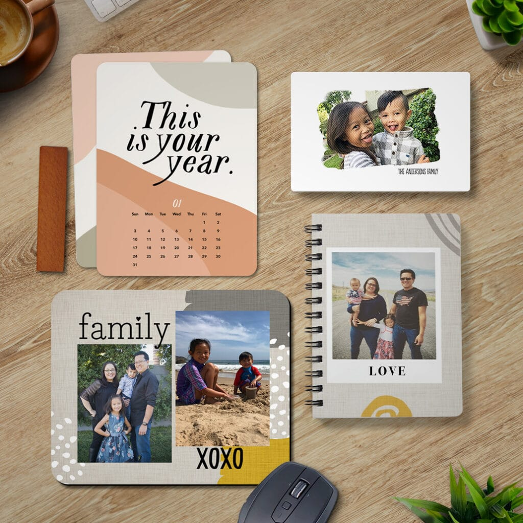 Neutral colored office supplies including wood block desk calendar, 4x6 canvas, mousepad, and notebook