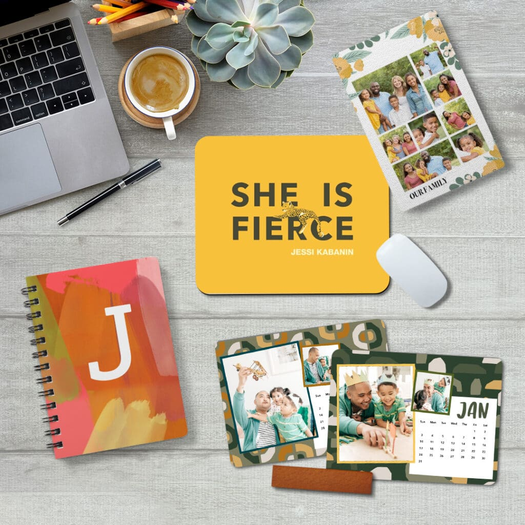 Photo gifts for home office including mousepad, journal/notebook, calendar, and 4x6 canvas
