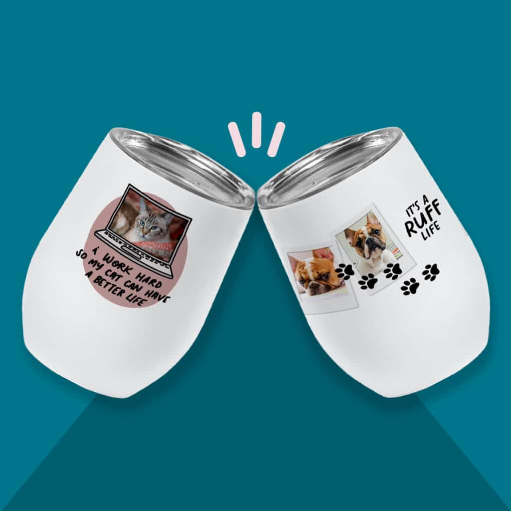 Pet-inspired designs for insulated wine cups