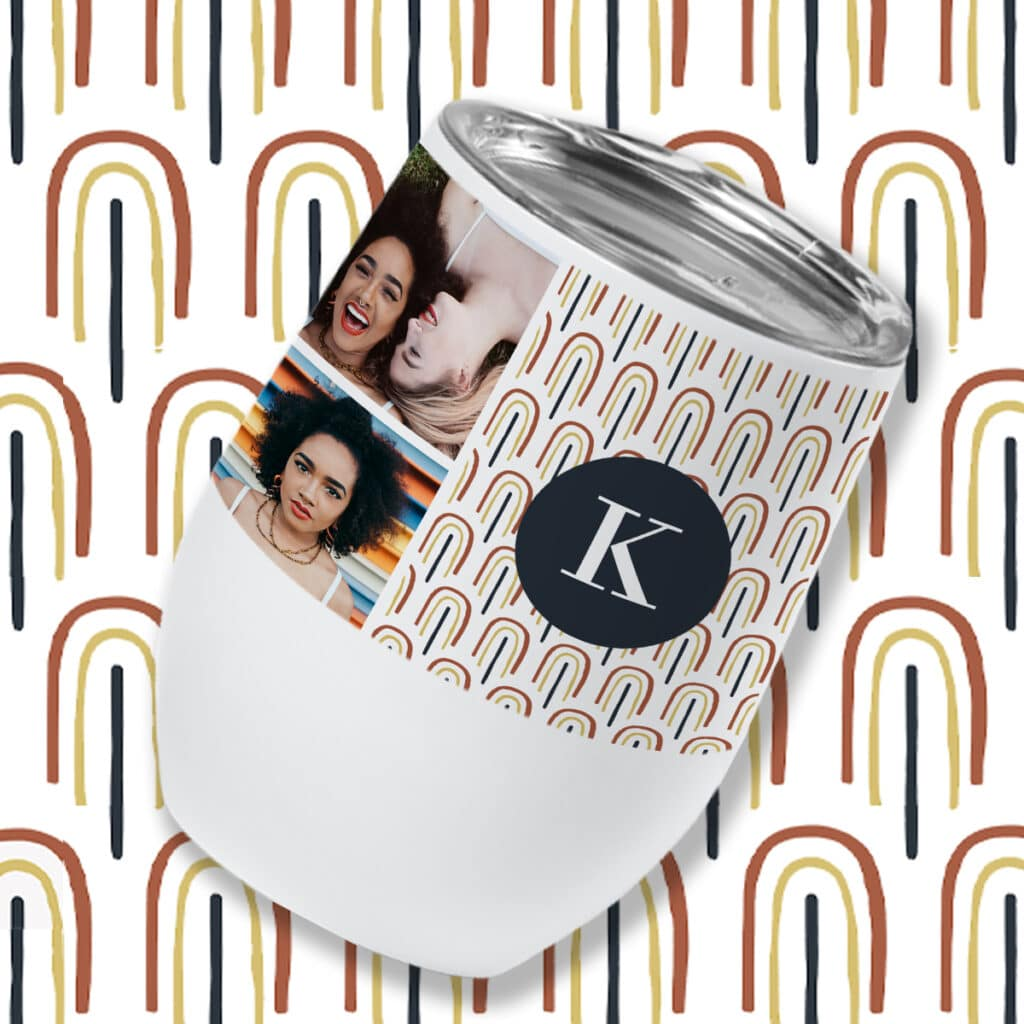 Insulated wine tumbler with a neutral rainbow design