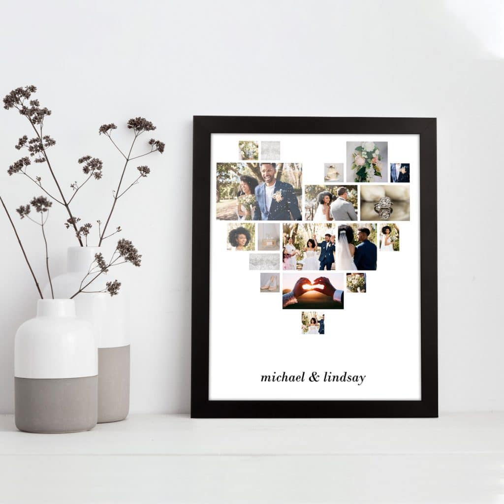 Heart-print collage showing wedding photos
