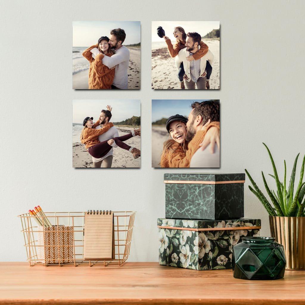 Four photo tiles showing sweet couple photos on a beach