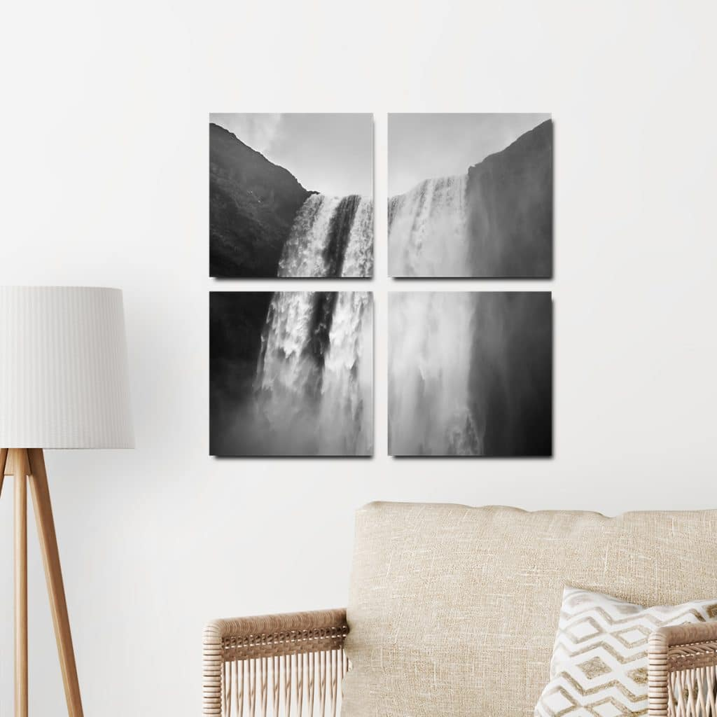 Split photo tile set featuring a waterfall photo hung on the wall over a couch