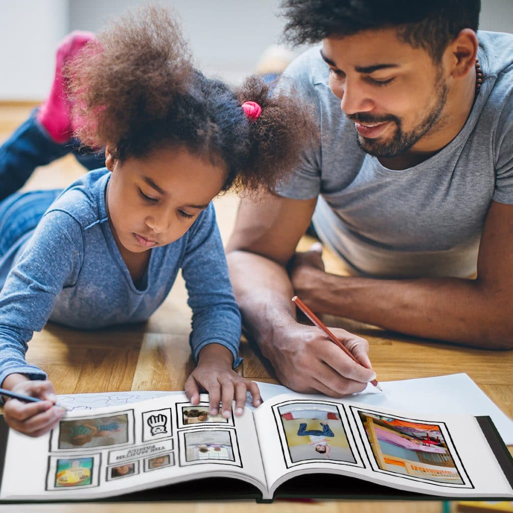 Father and daughter coloring in our Social Distancing Coloring Book photo book design