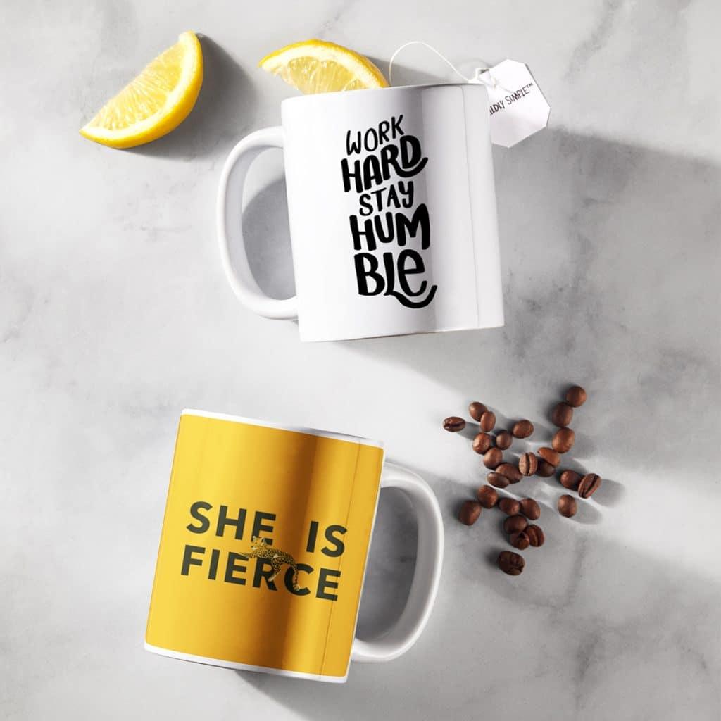 White coffee mugs showcasing inspiring quotes
