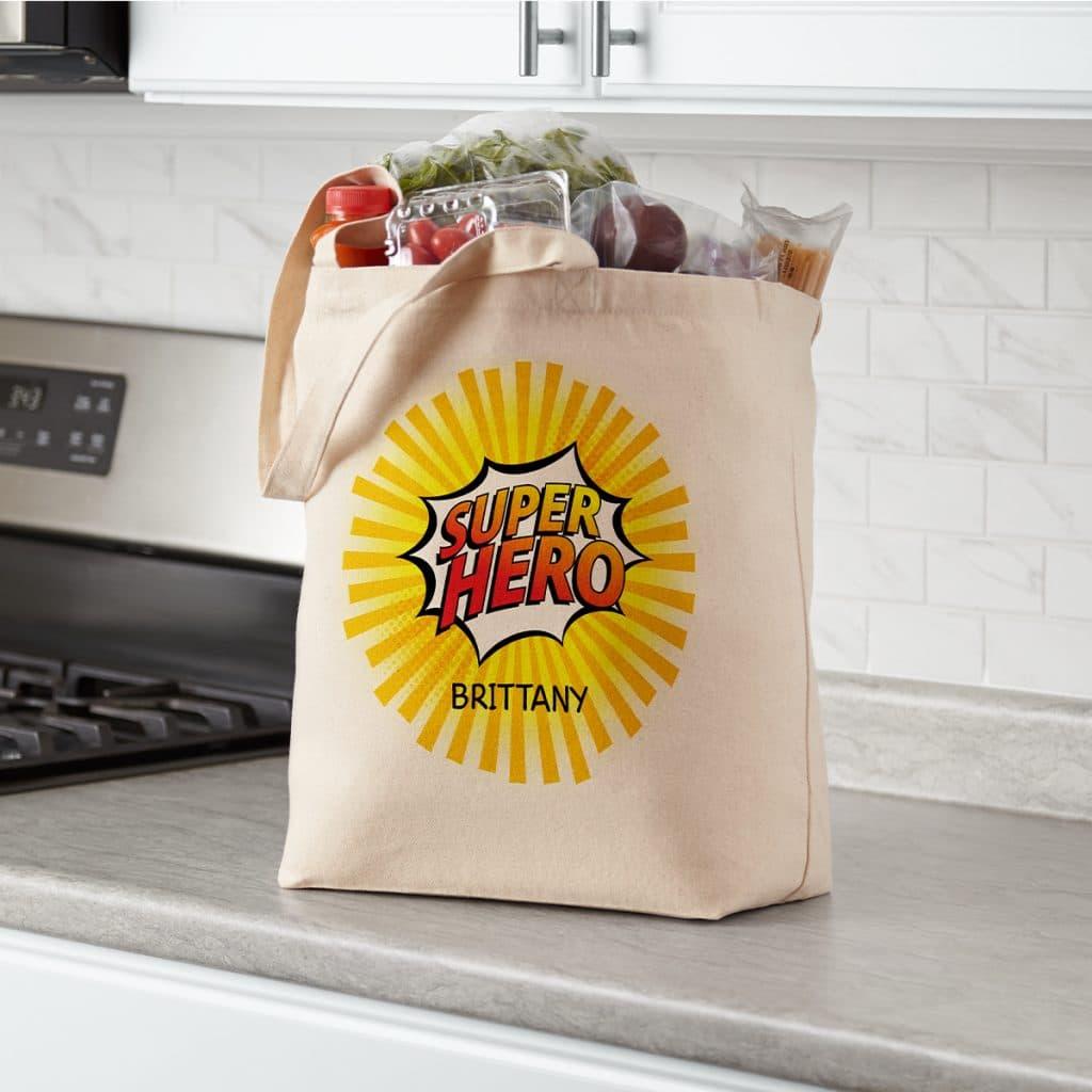 "Canvas tote bag that says ""Super Hero"""