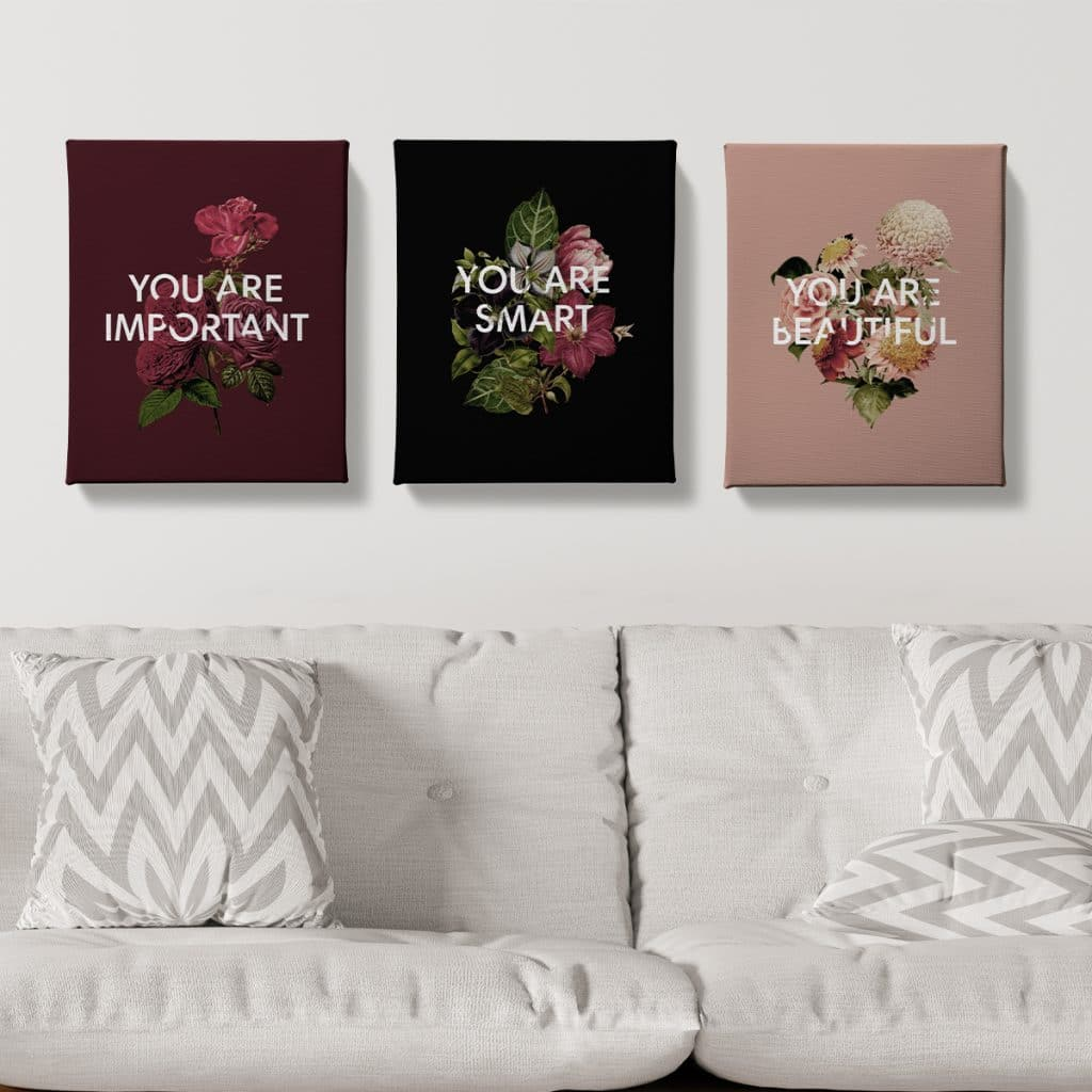 """Three motivational canvas prints that read: """"You are important"""", """"You are smart"""", and """"You are beautiful"""""""
