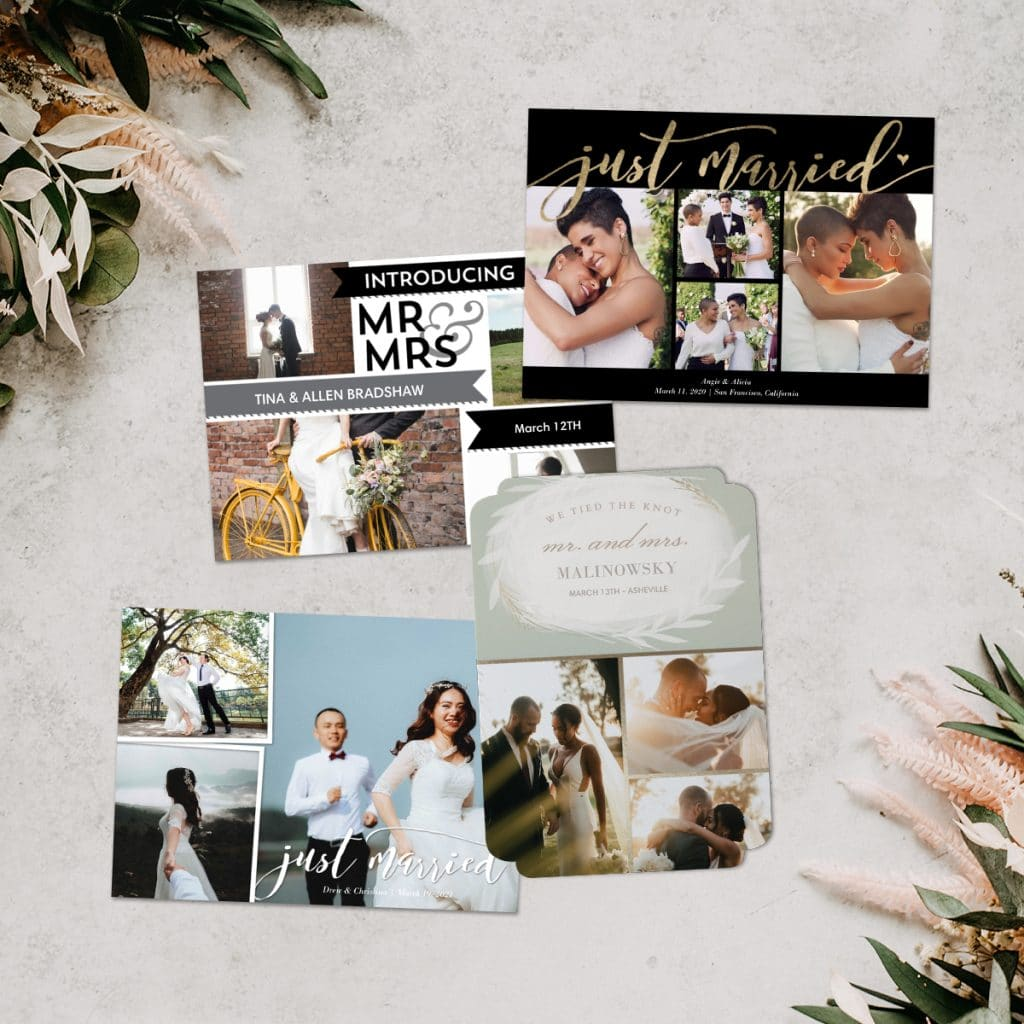 A flat lay array of wedding announcements