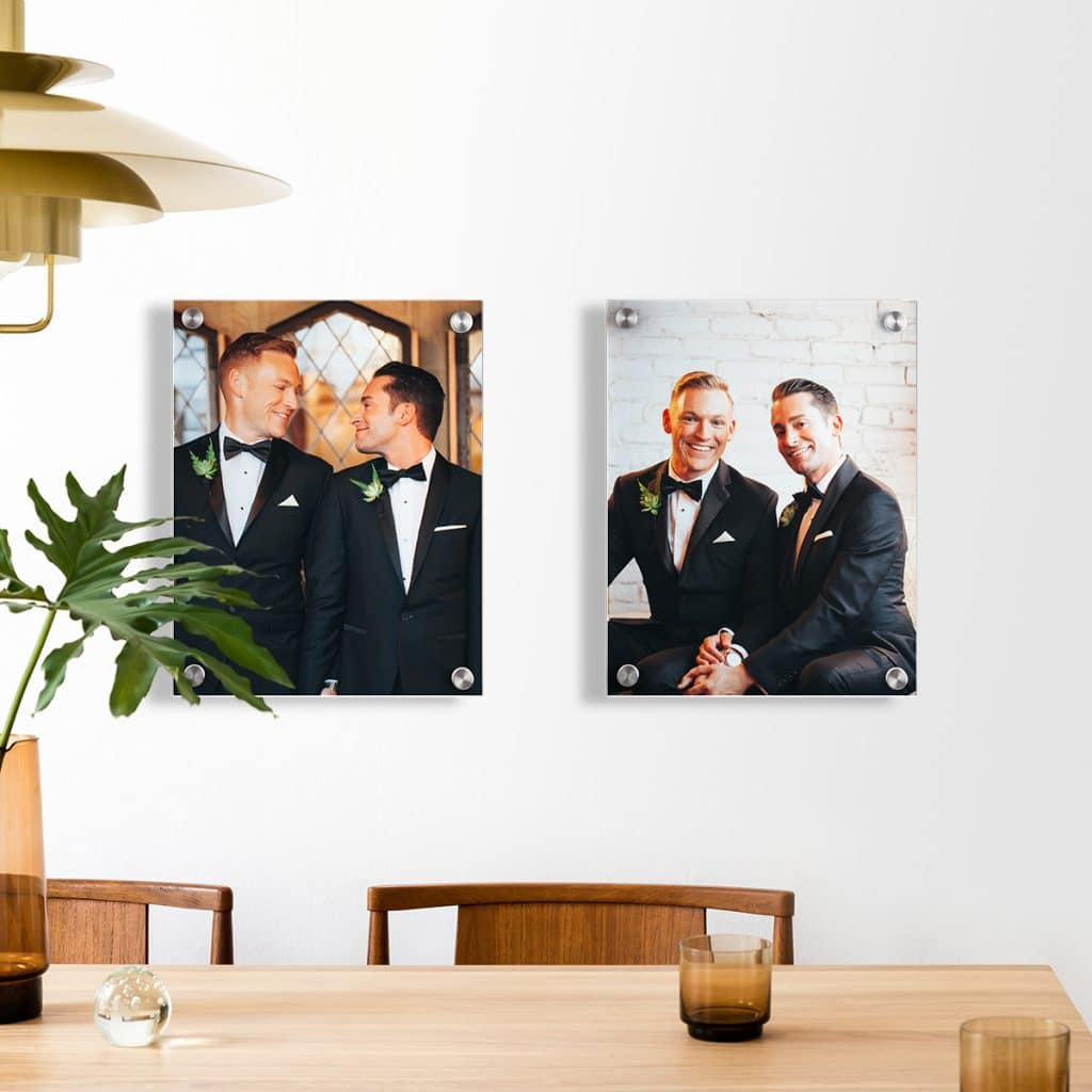 Acrylic prints featuring two wedding photos