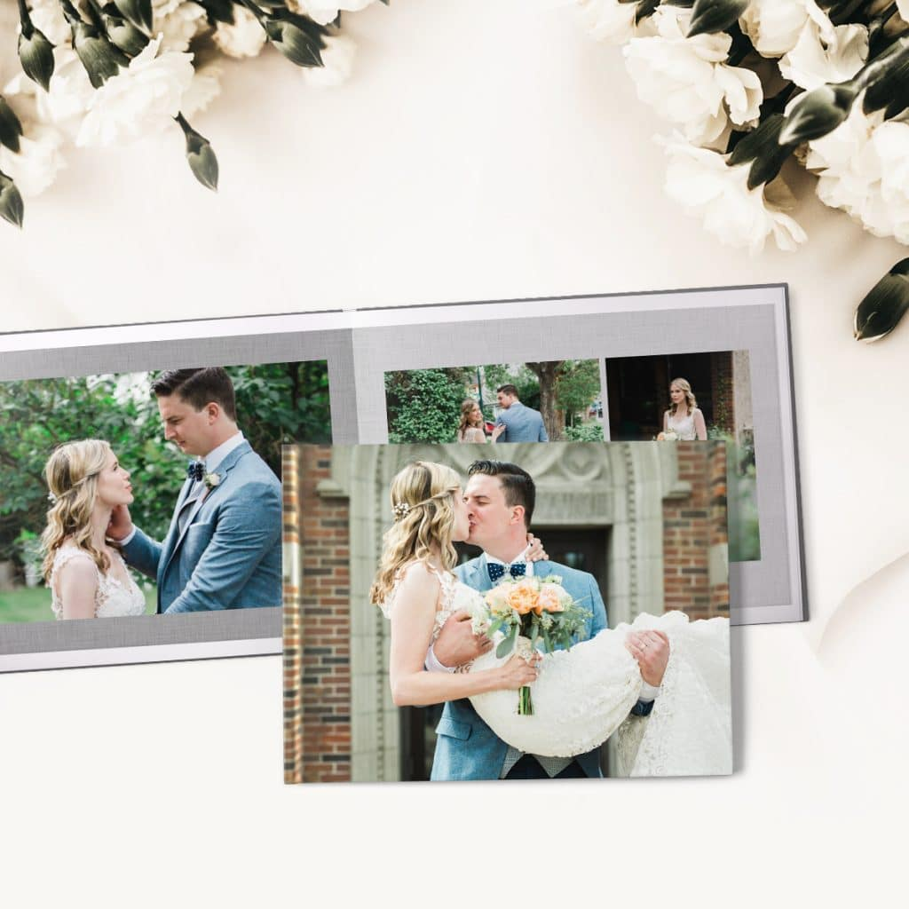 Wedding photo book including front cover and spread