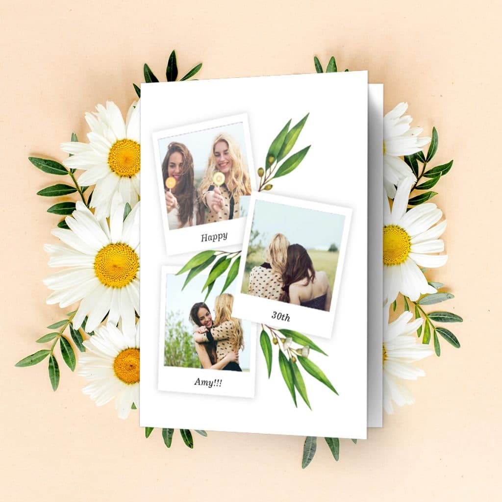 Bloom Collage birthday card featuring friendship photos, laying surrounded by flowers