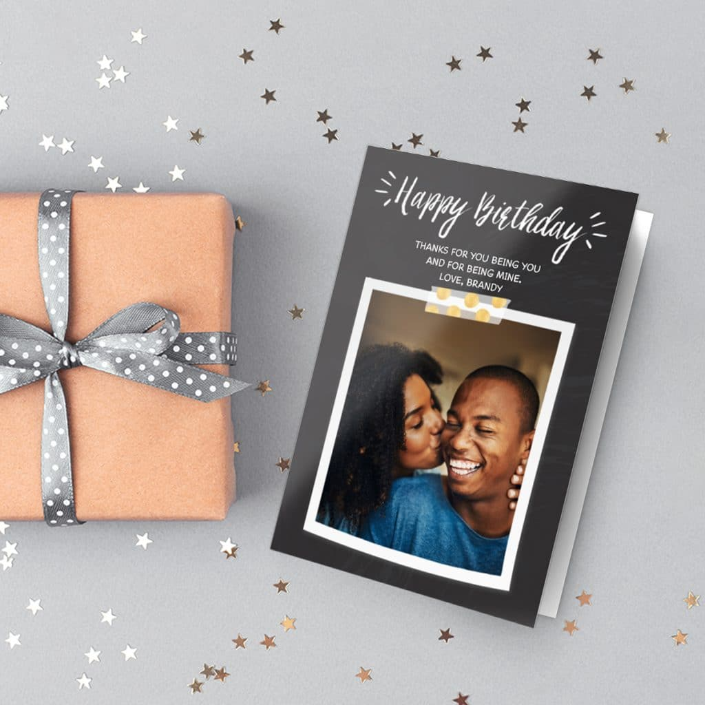 Chalk Birthday Burst design card featuring a happy couple photo