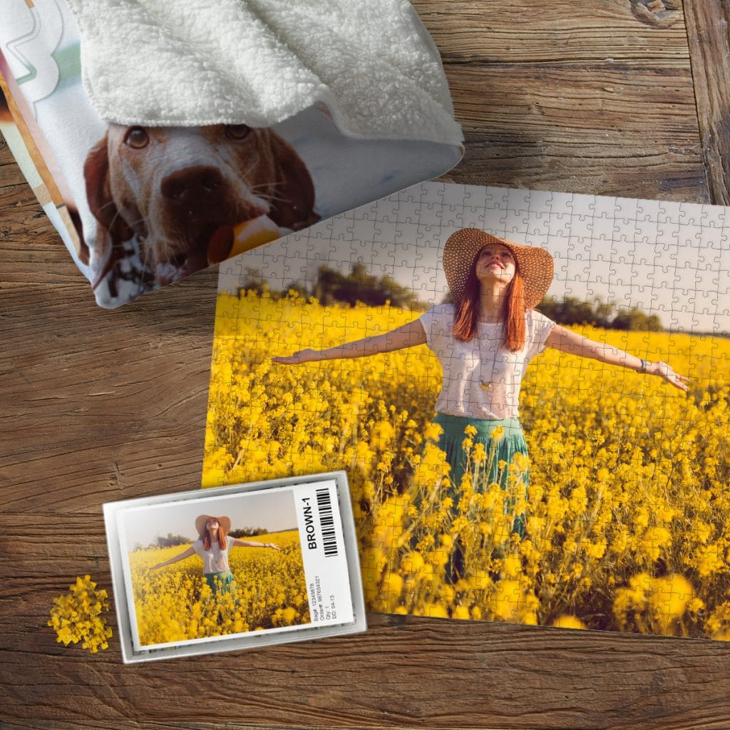 Photo puzzle featuring a woman standing in a field of yellow flowers