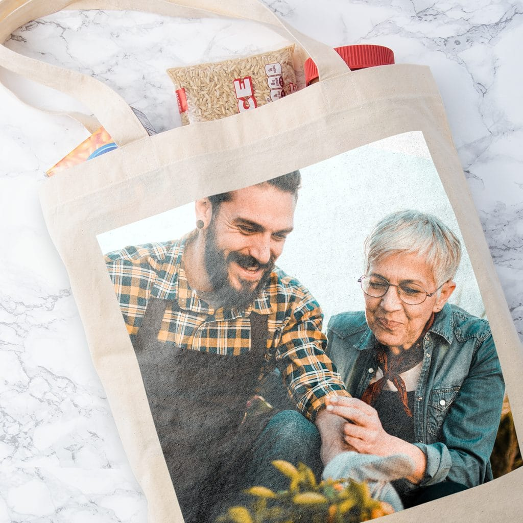 Tote bag featuring photo of mother and son