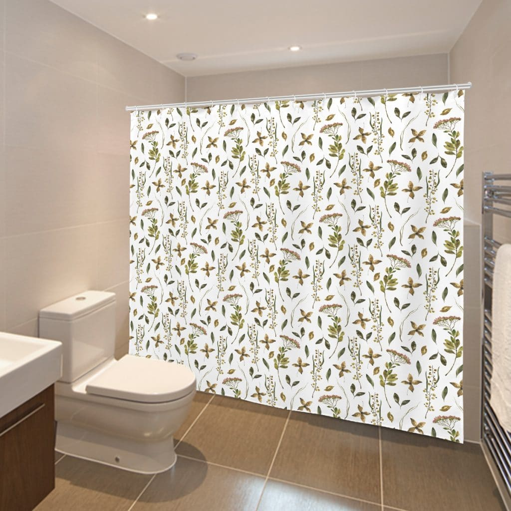Vintage Greenery shower curtain hanging in a bathroom