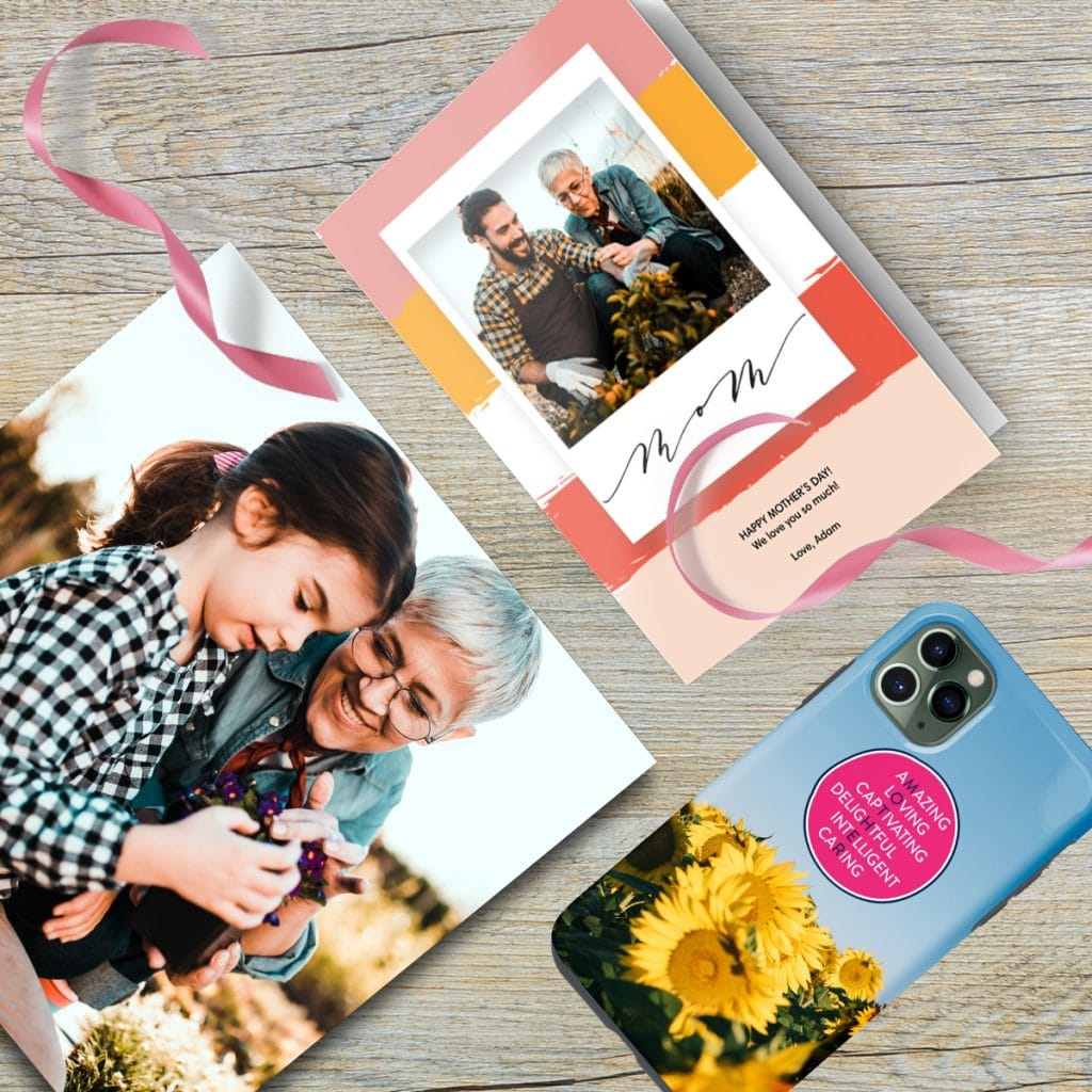 A flat lay featuring a photo tile, custom phone case, and personalized Mother's Day card
