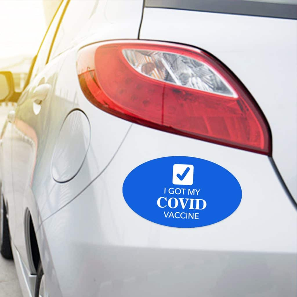 """Oval-shaped car magnet that reads """"I got my COVID vaccine"""""""