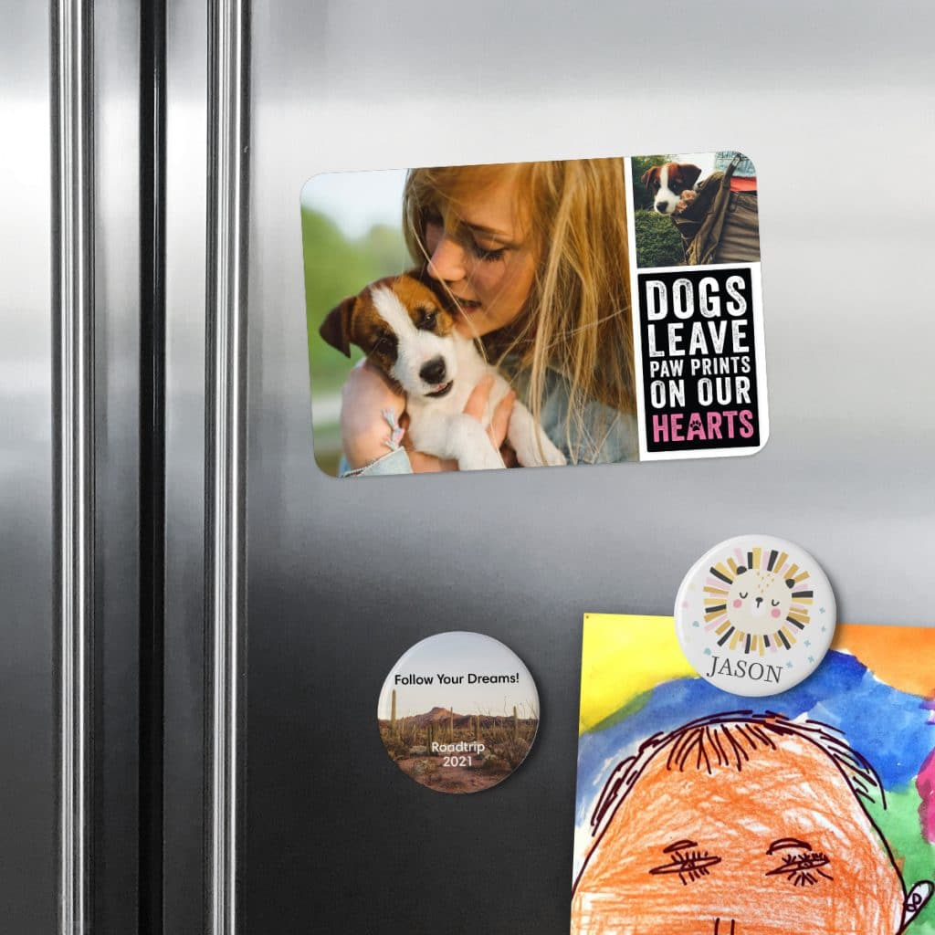 Fridge covered in round photo magnets and square magnets featuring photos
