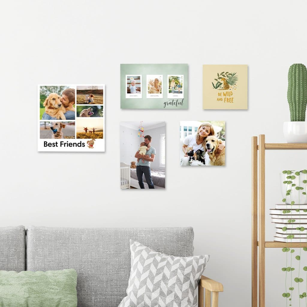 Gallery wall featuring foam photo tiles in 3 different sizes