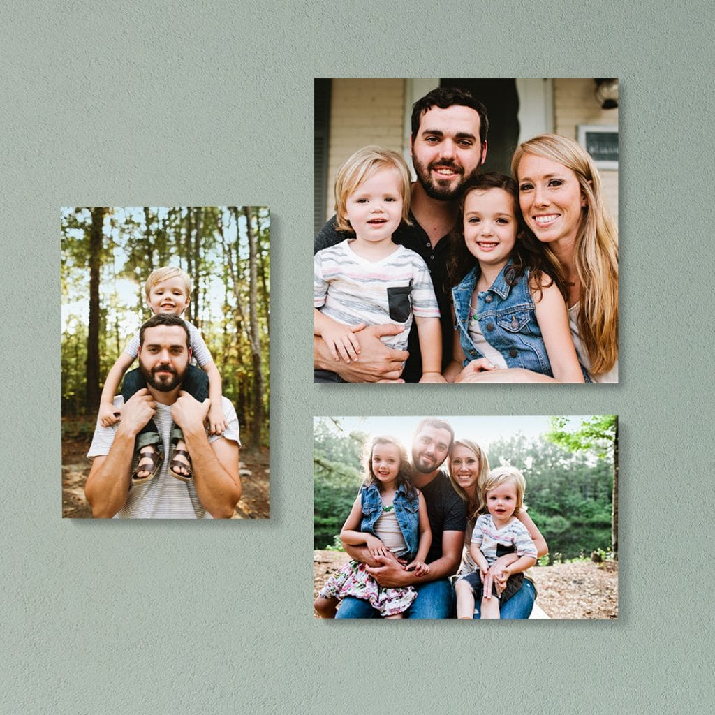 Three sizes of photo tiles featuring a series of beautiful family portraits