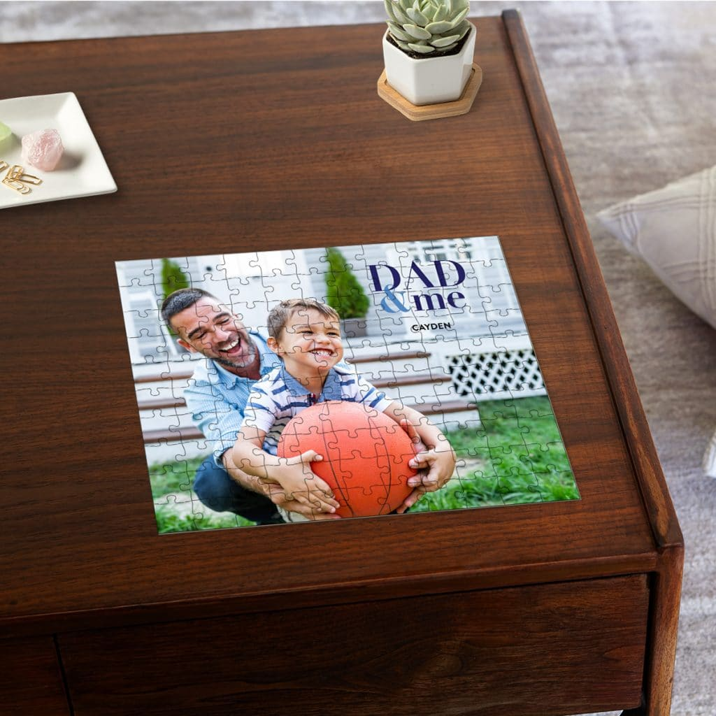 """110 piece puzzle with dad and son photo featuring """"DAD & ME"""" text"""