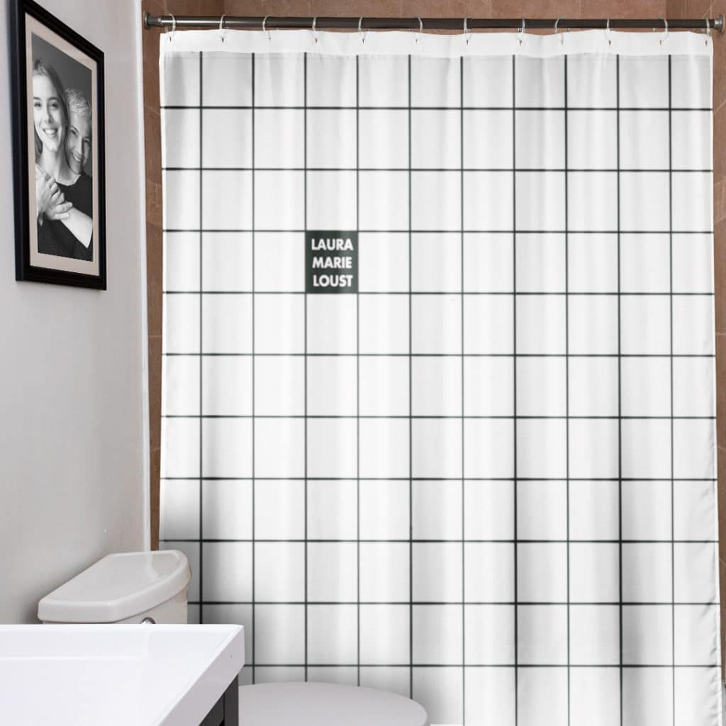 Custom checkered shower curtain hanging in a bathroom