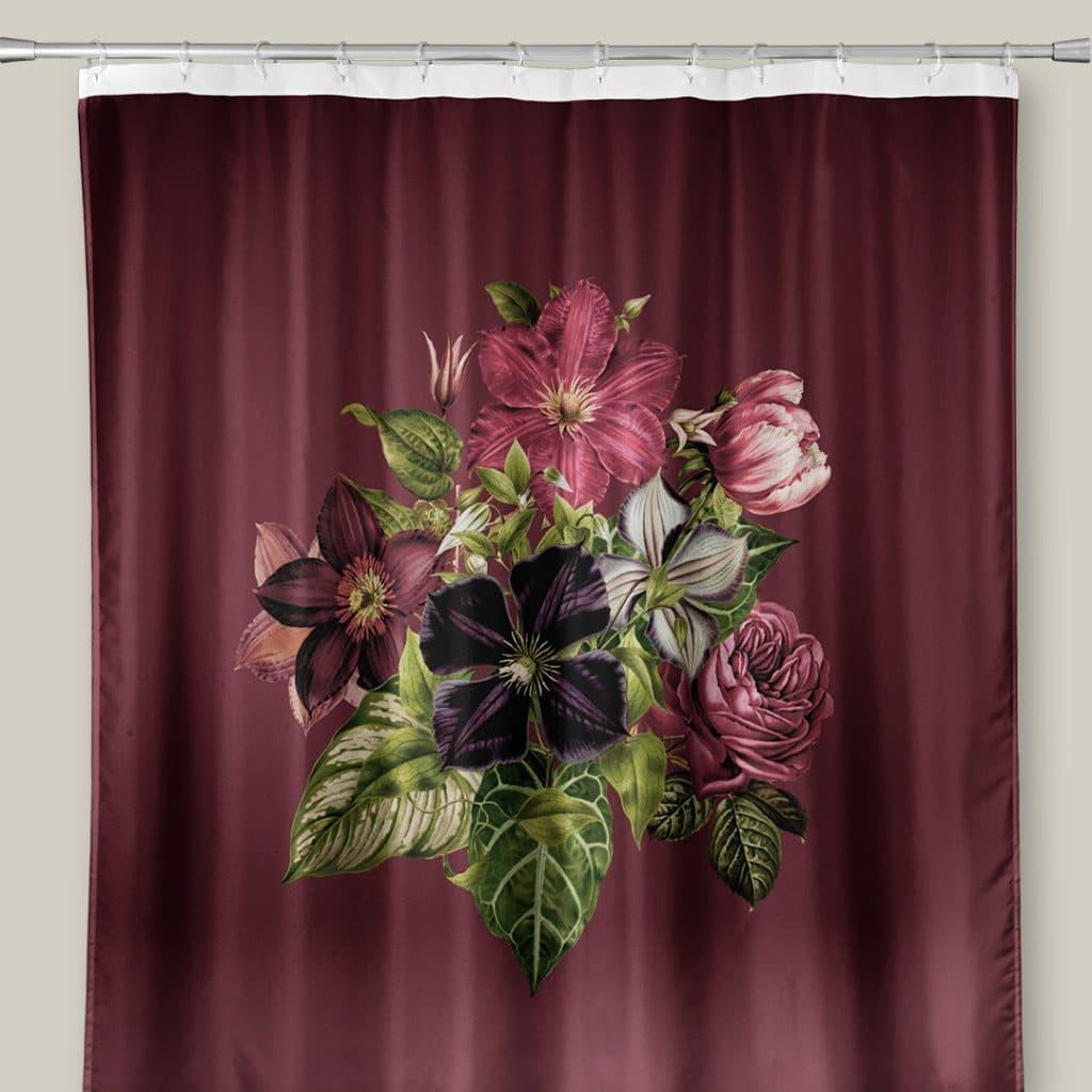 Photo of a shower curtain featuring burgundy Romantic Bouquet design.