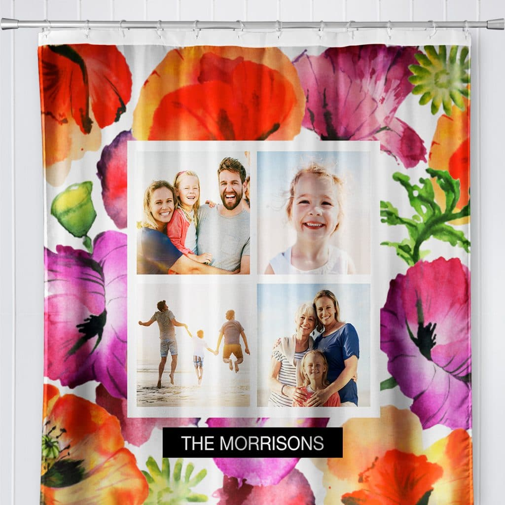 """Photo of a shower curtain featuring Watercolor Floral design and """"The Morrisons"""" plus family photos"""
