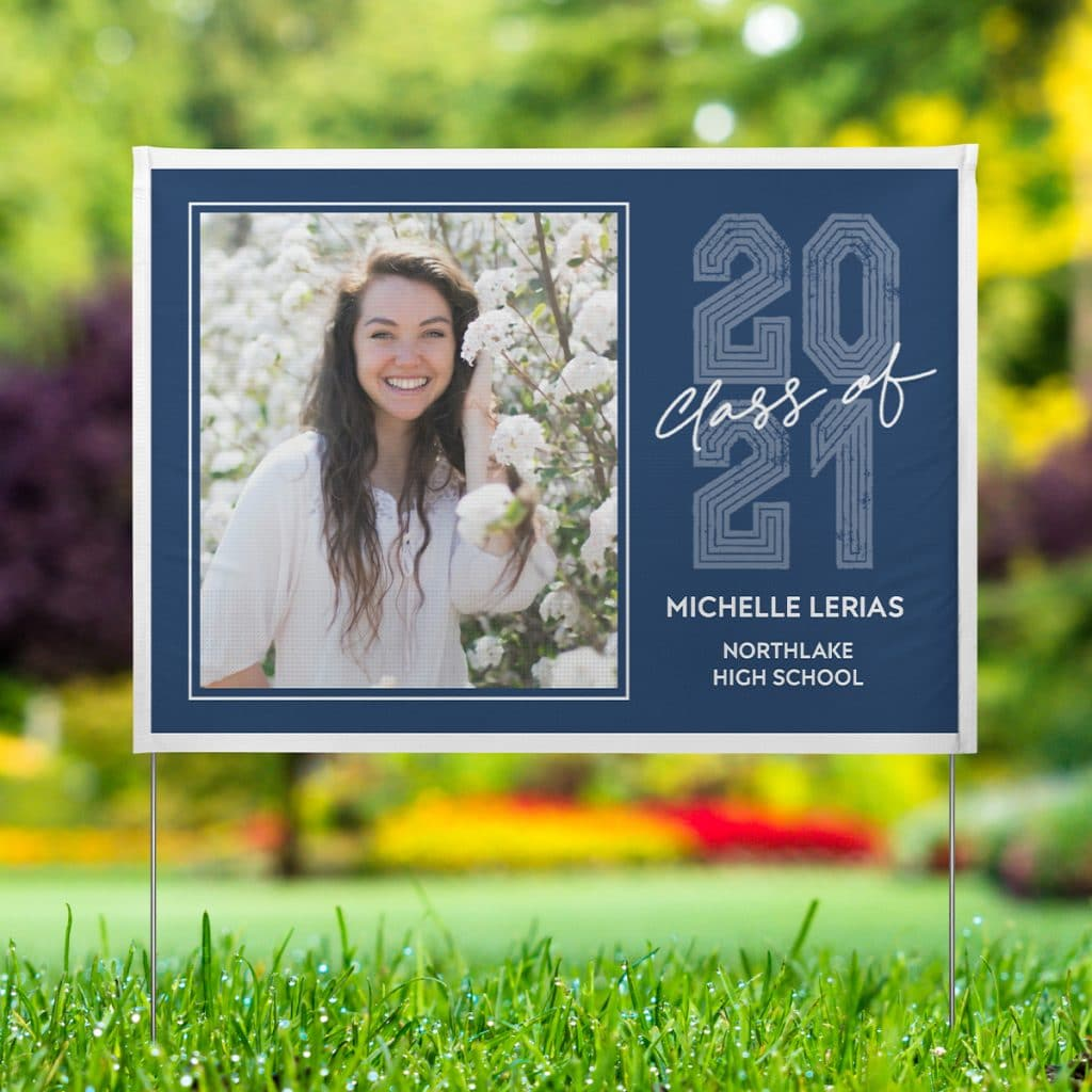 Blue Class of 2021 Graduation Yard sign featuring smiling graduate photo