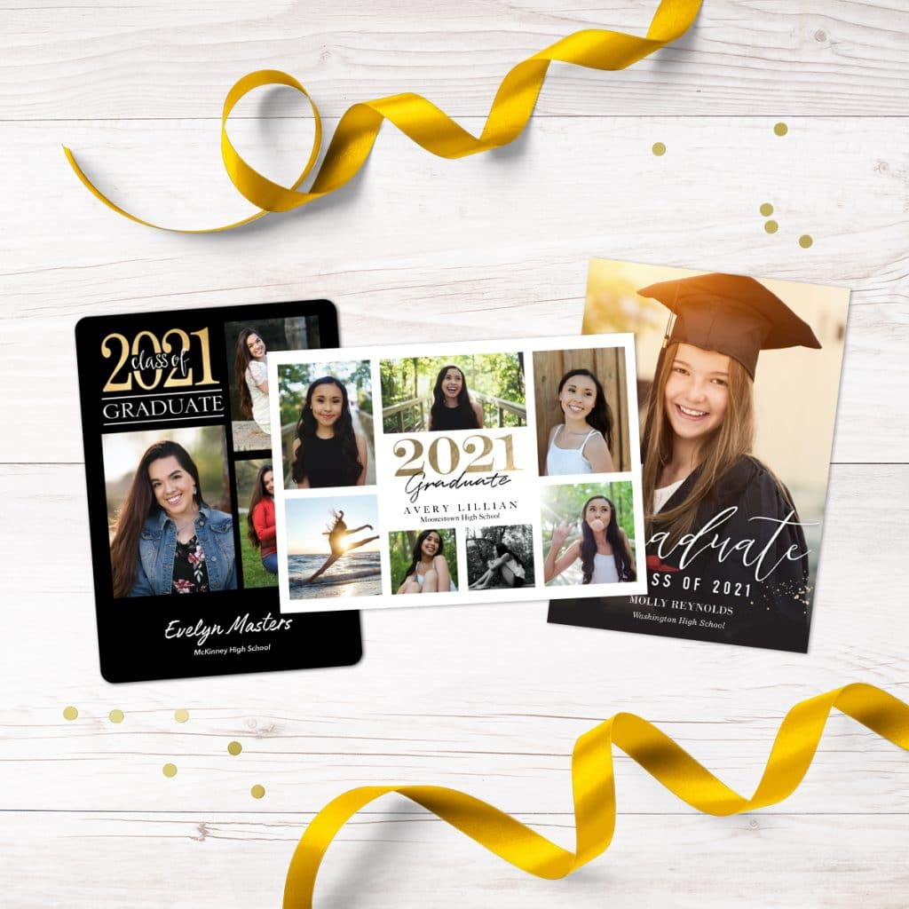 Three different styles of custom graduation announcements for 2021 graduates