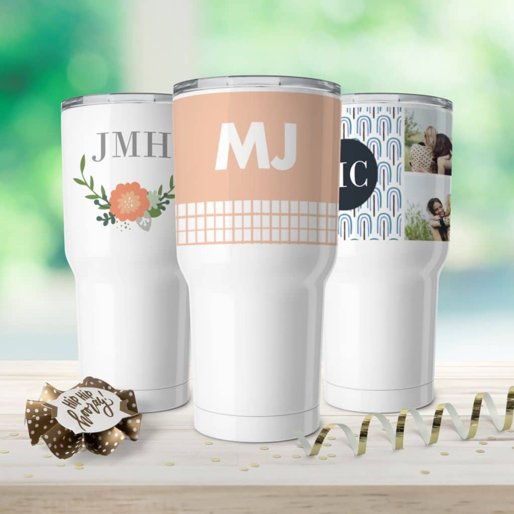 Three different designs featured on insulated tumbler cups