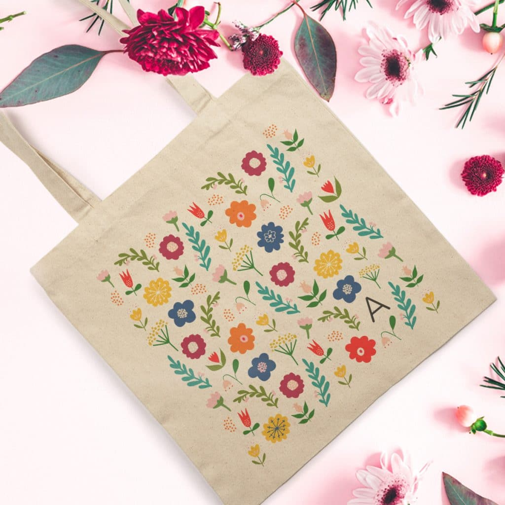 Everyday Canvas Tote bag featuring Folk Floral design