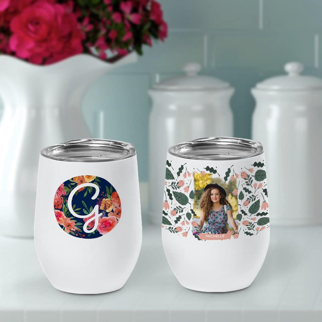 Two insulated wine cups featuring flower designs