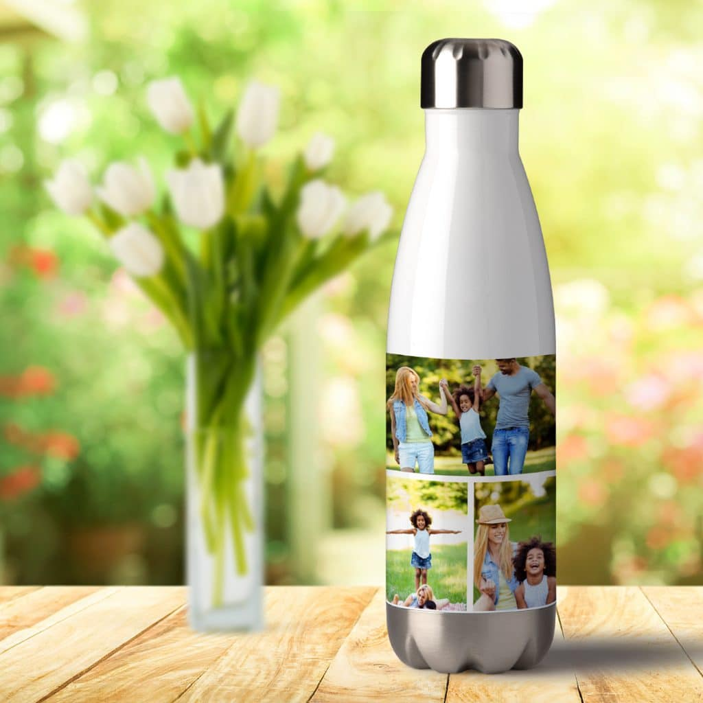 Image of white aluminum water bottle featuring family photo collage