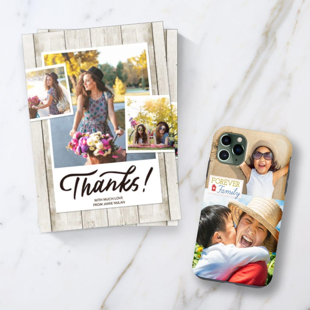 An image of thank you cards and a phone case all featuring photo collages